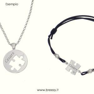 Collana e bracciale con cordoncino puzzle personalizzati